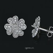 Fine Sterling Silver CZ Floral Push Back Stud Post Earring Pearl Cup Pin #97479