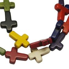 Strand of 24 Multi-Coloured Synthetic Howlite 16mm Cross Shaped Beads (BOX42)