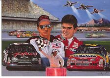 DALE EARNHARDT AND JEFF GORDON NASCAR POST CARD BORN TO FLY