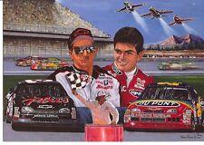 DALE EARNHARDT & JEFF GORDON NASCAR CHAMPIONS POST CARD BORN TO FLY