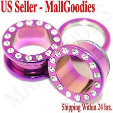 """0977 Hot Pink  Purple Steel Screw-on/fit CZ Flesh Tunnels 9/16"""" Ear Plugs 14mm"""