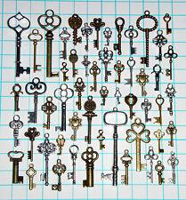 Antique Vtg old look Ornate Skeleton Key Lot Pendant Fancy Steampunk Heart Bow