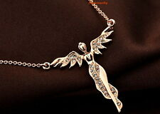18k Rose Gold Plated Crystal Women's Flying Angle Necklace N56
