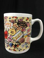 Mary Engelbreit Mug Coffee Cup Motto Love Believe Cherries Flowers Heart Home Lr