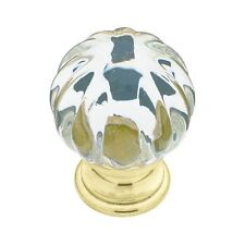 Cabinet Hardware Drawer Knobs p30104 Acrylic Ridge Ball Clear/ Brass 31.6mm
