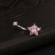 Surgical Steel Pink CZ Star Dangle Piercing Belly Button Navel Belly Bar Gift