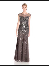 NWT Adrianna Papell Women's cap sleeve illusion neck evening Gown