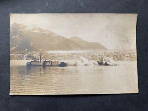 RARE c1910 ALASKA STEAMER GULKANA SHIP RPPC ! MILES GLACIER CR&NW RAILROAD L@@K!