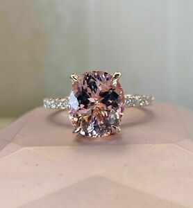 2Ct Oval Cut Morganite Solitaire Women's Engagement Ring 14K Rose Gold Finish