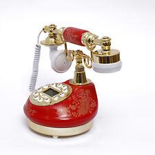 511 Vintage Push Button Ceramic Antique Telephone Dial Desk Phone Red Retro