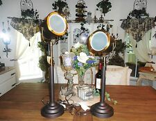J Hunt Brass Nautical Spotlight Search Light Adjustable Table Lamp Matched Set