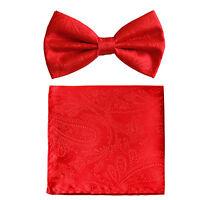 New formal men's pre tied Bow tie & hankie set paisley pattern red prom wedding