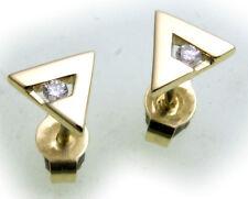 Mujer Pendientes De Perno Oro 585 Brillante 0 , 05ct SI Amarillo Diamante MATE