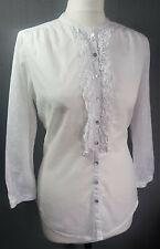 Edina Ronay pure cotton white shirt blouse lace cotton ruffle frill UK 10