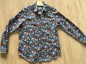 JAMES MEADE Liberty Print Shirt Blouse Floral Cotton Blue Brown Green 14 L