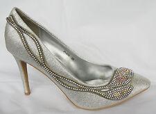 Zapatos de Novia Fiesta Noche en Plata Alta Calidad Con Piedrecita P606