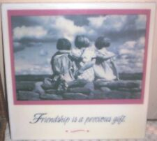 """Decopouge """"Friendship Is A Precious Gift"""" 7 5/8"""" Tile~ Made in Mexico"""