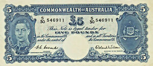 1952 Commonwealth Bank of Australia Coombs/Wilson £5 Pound Banknote - S30 546911
