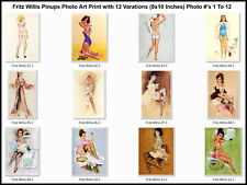 Vintage Pinups Photo Art Prints by Fritz Willis (8x10 Inches) Photo# 1 To 12