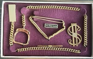 Vintage NEW in Box 4 Pc Mens Money Tie Clip Pocket Watch Chain 24K Gold Plated