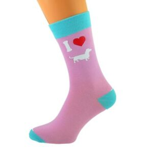 I Love Dachshund Sausage Dog Weiner Teckel Novelty Socks Unisex UK Size 5-11
