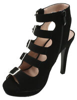 Forever Women's Cary-14 Faux Suede Peep Toe Strappy Platform Stiletto High Heel