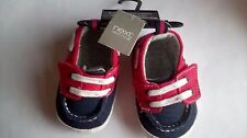 NEXT BABIES PRAM SHOES RED NAVY WHITE NAUTICAL VELCRO NEW TAGS SIZE 1 BOATS DECK