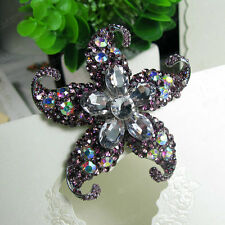 Purple Wedding Brooch Bridal Bouquet Rhinestone Crystal Flower Pin Brooches BIG