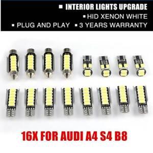 16X FOR AUDI A4 S4 B8 FULL LED INTERIOR LIGHT KIT PURE WHITE CANBUS ERROR FREE