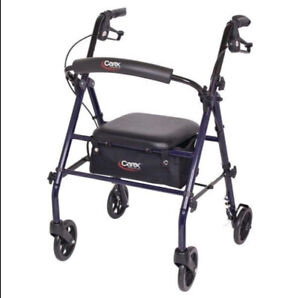 Carex Rollator Walker with Padded Seat 6-inch Wheels Cushioned Back Support