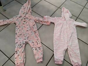2 Carter's Fleece Jumpsuit 12 Mo