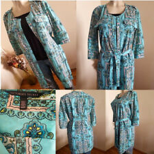 Victoria's Secret Turquoise Printed Shirt Dress/Duster With Belt-(M)