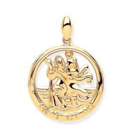Hallmarked 9ct Yellow Gold St Christopher Round Cut Out Protect Us All Medal