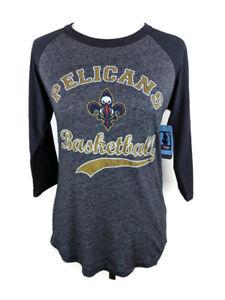 NBA New Orleans Pelicans Womens Triblend 3/4 Sleeve Raglan T Shirt Navy X Small