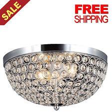 Elegant Chandelier Crystal Light Ceiling Flush Mount Modern Lamp Fixture, Chrome
