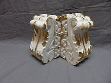Pair Antique French Carved Wood Corbels Shelf Brackets Shabby Vtg Chic 615-18P