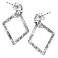 925 Silver CZ Open Square Dangling Earrings
