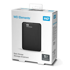 WD - Elements 1TB USB 3.0/2.0 External Portable Hard Drive Black, NEW