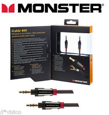 Monster® Aux Cable 3.5mm Stereo Mini Jack Male Audio Auxiliary Lead 24K Gold 2m