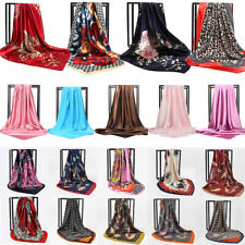 Women Printed Satin-Silk Hijab Scarf Square Wrap Head Shawl Scarfs Lot 90*90cm