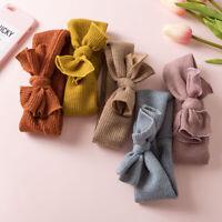 Solid Girl Soft Crochet Headband Turban Knitted Cross Bowknot Elastic Hair Band