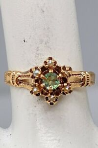 Antique Victorian Ostby & Barton Natural Alexandrite Pearl 10k Yellow Gold Ring