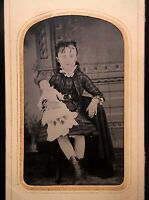 RARE 1/6 PLATE TINTYPE - TWO TINTED DOLLS - ONE WEARING A GUTTA PERCHA NECKLACE