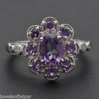 Amethyst Natural Stone 925 Solid Sterling Silver Women's Designer Ring Size 6 AU