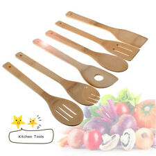 6pc Wooden Cooking Utensil Set Kitchen Bamboo Spoons Spatula Tools Wood Tools US
