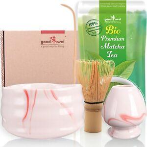 "Matcha-Set ""Pink Marmor"" mit Bio Matcha Pulver aus Japan"