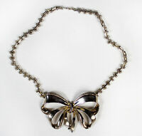 Chunky Vintage BOW Necklace Silver Tone Short Collar Style 1960s