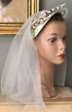 VINTAGE 1940's IVORY SATIN WEDDING HEADPIECE HAT W/ TINY VELVET FLOWERS