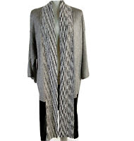 Chico's Cardigan Size 1 Gray Black Womens Stretch Knit Open Front Sweater