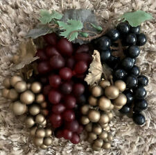 Vintage Rubber Grapes 4 Bunches 5� To 7� Long